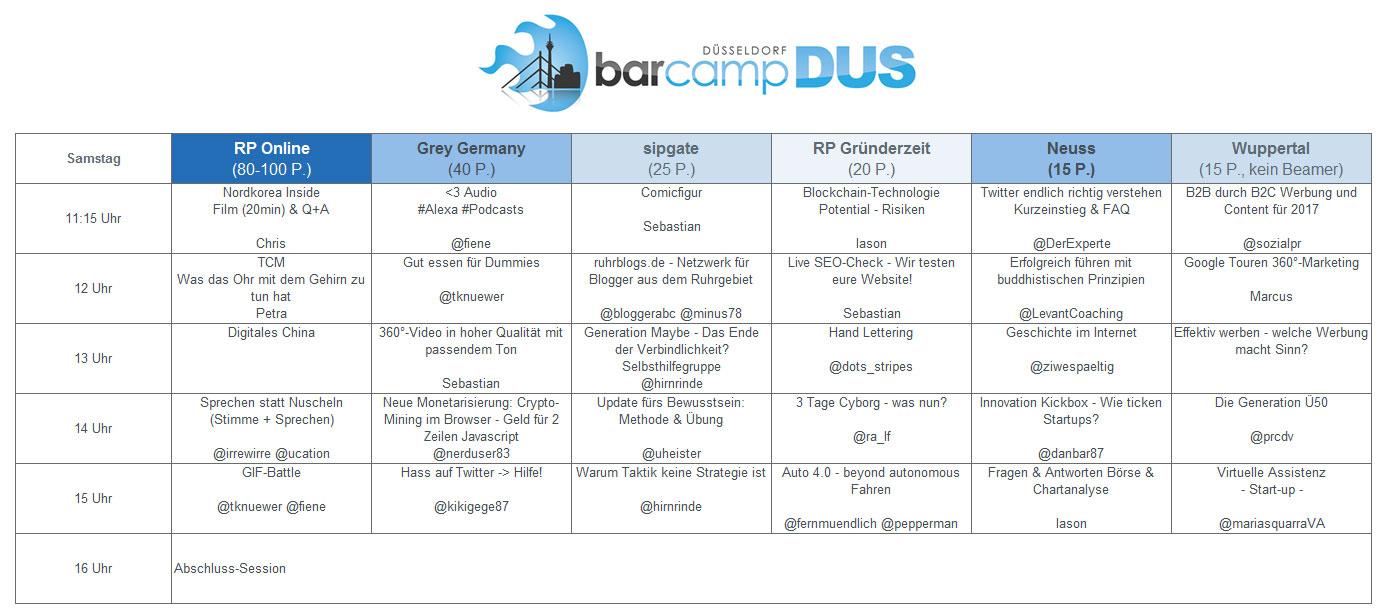 Sessionplan #BarCampDUS Samstag, 14. Oktober 2017